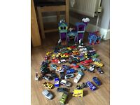 Matchbox haunted house garage set comprising of two pieces & loads of cars