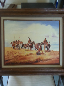 Native Indian oil painting. Very nice detail. Frame is poor
