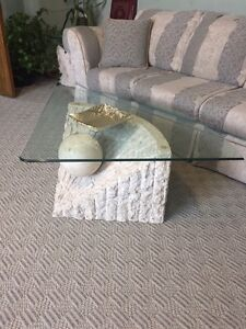 4 piece solid stone coffee table set