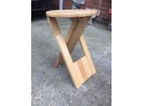 Folding pine stool as new condition