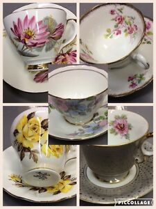 Fine China teacup and saucer sets (five of 10 shown here)