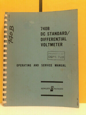 Hp 00740-90002 740b Dc Standarddifferential Voltmeter Operatingservice Manual