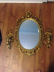 Antique mirror and candle holders