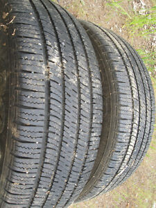 2  15 inch Goodyear snow tires  80-90%