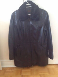 Danier Large Black Leather Coat with Fur Collar