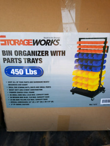 Parts bin storage rack unopened.