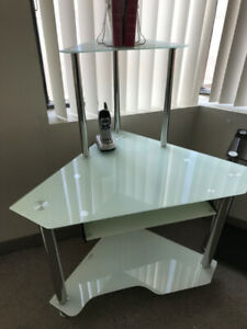 Corner Computer desk,temp. glass,Stainless steel,new in  box