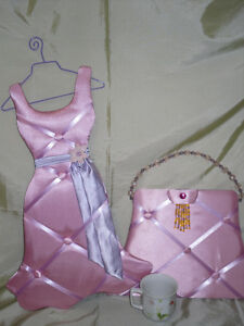 Quilted Pink DRESS & PURSE Decor