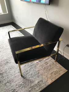 cb2 cue accent chair dark grey and gold