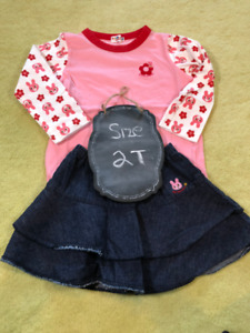 Pink Casual Cotton Top with bunny sleeves and skirt - 2T
