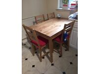 Ikea kitchen table for four abd four chairs