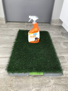 """Artificial turf dog training pad with """"Go Here"""" spray"""