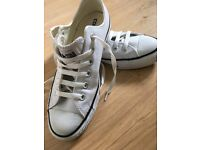 Woman's White Leather Converse (NEW)