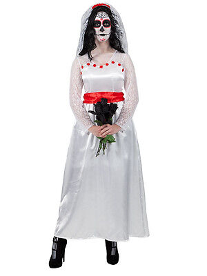 Adult Ladies Mexican Day Of The Dead Bride Wedding Fancy Dress Halloween Costume