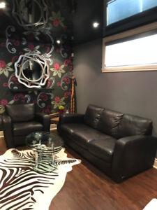 Sofa et fauteuil en cuir Natuzzi (couleur espresso)