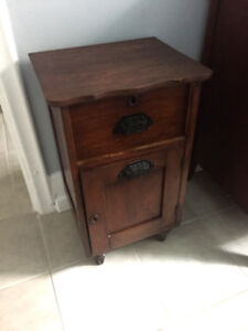 Small Antique Wood Nightstand