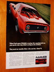 FORD MACH II CONCEPT CAR FOR 1968 AUTOLITE AD - ANONCE VINTAGE