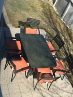 Patio set black and red
