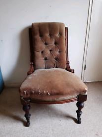 Antique Victorian button backed nursing chair
