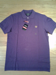 NWT- Men's CHAPS Stretch Polo Shirt- size Medium- Deep Purple