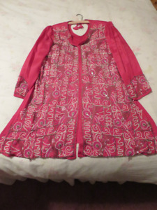 East Indian Formal Dress Outfit With Long Scarf  Hot Pink