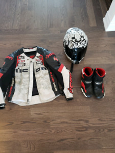 Motorcycle gear - jacket helmet boots and vest