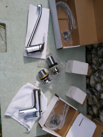 Chrome plumbing taps and wastes. New in boxes