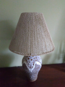 West Germany Fat Lava pottery lamp ( Mid century Teak)
