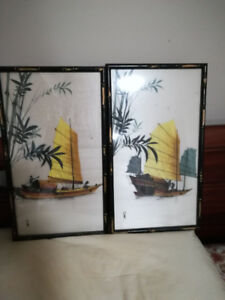 Chinese Art  Paint on Silk original signed of  Chinese junks x2