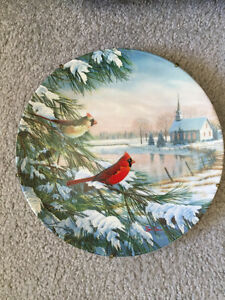 Cardinals in Winter Collectable Plate