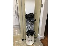 Snowboard and bindings.
