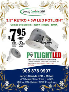 "%%3.5"" Retro Potlight + Trim + 5W LED Lamp COMBO : $7.95 Only %%"