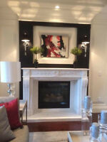 Natural stone mantel, electric fireplace