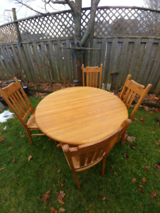 Oak Hardwood Table and Four Chairs