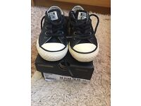 Boys black leather converse size 10