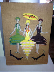 Burlap Wall Art Womans Fasion Cloths Fancy Designer Ladies Hang