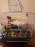 Lg bird cage with alot of extras