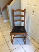Wooden chair with black wicker seat. Excellent shape!