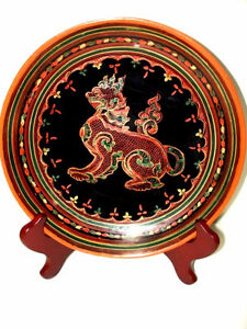 fine BURMESE LACQUER antique WOOD Plate FOO LION gorgeous PanYun Cambridge Kitchener Area image 1
