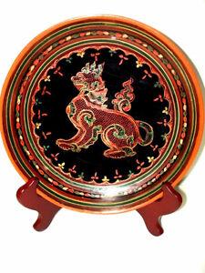 fine BURMESE LACQUER antique WOOD Plate FOO LION gorgeous PanYun
