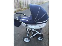 Navy Birds/White Leather 3 in 1 Pram, Stroller, Car Seat Travel System