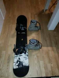Great Technine Snowboard 154cm, Drake Fifty Bindings, Size 10