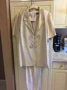 Plus Size Cream Color Pant Suit