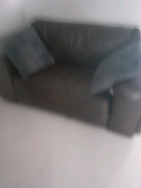 Sofa chocolate brown leather 2 seater deep cushioned