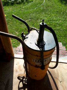 Vintage 15 gallon barrel pump with cart