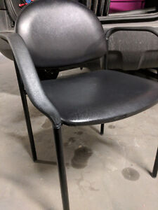 Office Guest Chairs - Black Leather