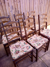 6 x Ercol Ladder Back Chairs with original cushions