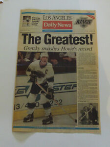 WAYNE GRETZKY LOS-ANGELES DAILY NEWS AVEC POSTER GEANT