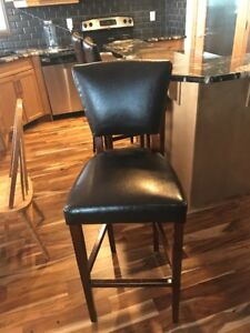 Pier One Brown Leather Barstools