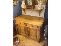 Vintage pine washstand marble back